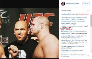 Fedor UFC Dana white instagram